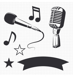 modern and retro microphones vector image
