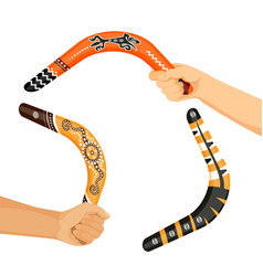 painted traditional australian boomerang tools in vector image