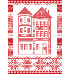 winter nordic style gingerbread house vector image
