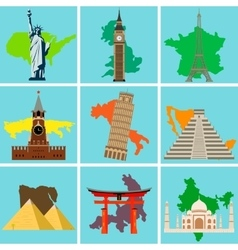 World landmarks countries of the world vector