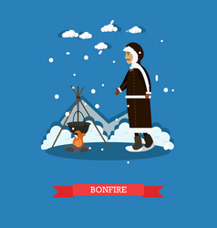 Bonfire concept in flat style vector