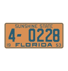 Florida1953 license plate vector