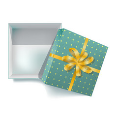 gift box with ribbon bow and open cover 3d vector image vector image