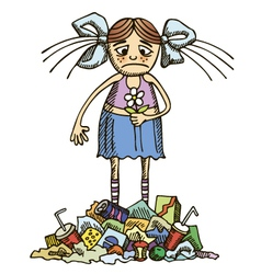 girl in a polluted environment vector image vector image