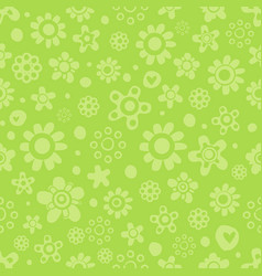 seamless pattern with cute flowers in green vector image vector image