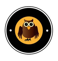 circular frame with halloween owl vector image