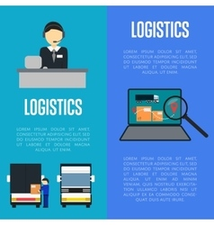 Logistics and freight transportation banners set vector