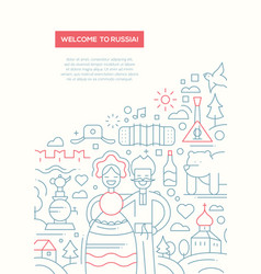 welcome to russia - line design brochure poster vector image vector image