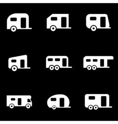white trailer icon set vector image
