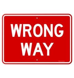 Wrong Way Sign vector image