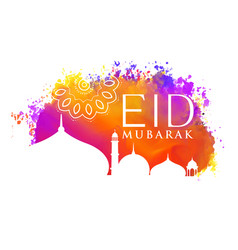 eid mubarak watercolor background with mosque vector image vector image