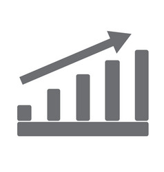 gray growing graph on white background gray vector image