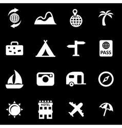 white travel icon set vector image vector image