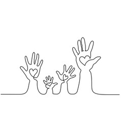 abstract family hands holding hearts one line vector image