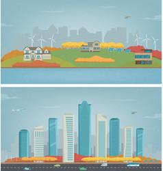 autumn city landscape and suburban landscape vector image