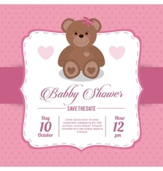 Baby Shower design teddy bear icon pink vector