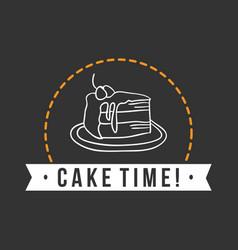 Bakery cake time dark background vector