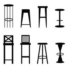Bar stools set in black ilustration vector