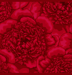 Beautiful seamless background red peonies design vector