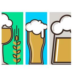 Beer glass banner celebration refreshment vector