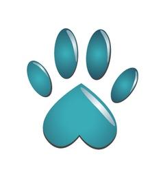 Blue animal paw vector