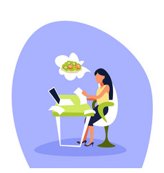 Businesswoman sitting office using laptop thinking vector
