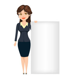 Businesswoman standing near big blank sign cute vector
