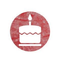 Cake icon with single candle with pixel print vector
