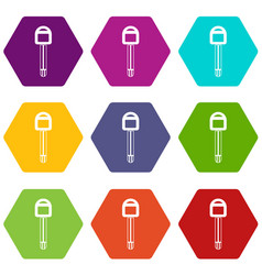 car key icon set color hexahedron vector image