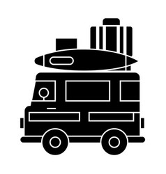caravan travel camping trailer icon vector image