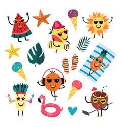 cartoon fruit summer party characters set vector image