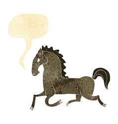 Cartoon running horse with speech bubble vector