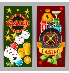 Casino gambling banners or flyers with game vector image