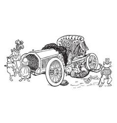 Cat mechanic vintage vector