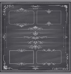 Chalkboard calligraphic ornament set vector