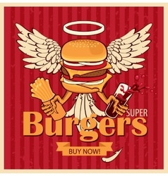 cheeseburger with the wings vector image