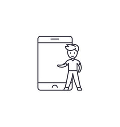 child and smartphone line icon sign vector image