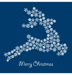 christmas deer silhouette with snowflake vector image