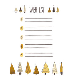 christmas wish list hand drawn vector image