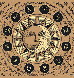 Circle zodiac signs with sun and crescent moon vector