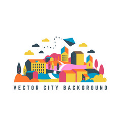 city landscape with buildings hills and trees vector image