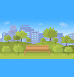 city park with wooden bench vector image