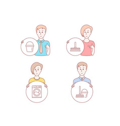 Cleaning mop washing machine and bucket icons vector