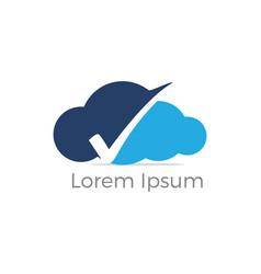 Cloud check mark logo design vector