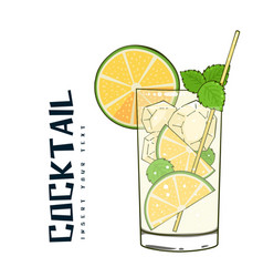 cocktail glass of cocktail lemon background vector image