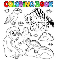 Coloring book zoo animals set 2 vector