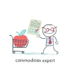 Commodities expert merchandise with document vector