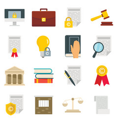copyright legal regulations icons set vector image