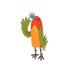 Cute bird waving its wing funny birdie cartoon vector