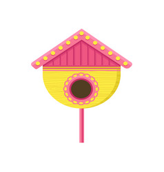 cute wooden birdhouse on stand yellow nesting box vector image